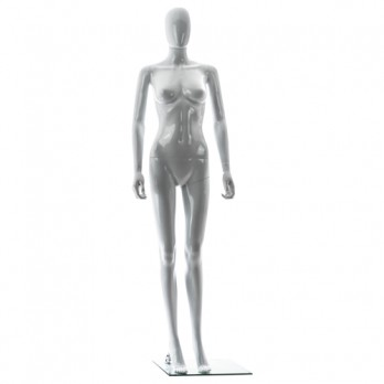 Female Egghead Plastic Eco-Friendly Mannequin Straight Pose Gloss White