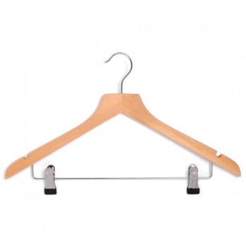 Wooden Hangers with Clips Wishbone Adult