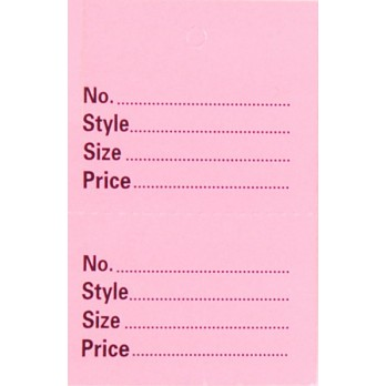 Perforated 2 Part Stock Control Tickets Without Border Pink