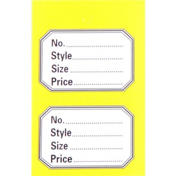Perforated 2 Part Stock Control Tickets With Yellow Border