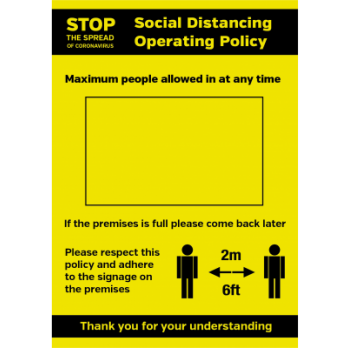 A3 Social Distancing Operation Policy - Waterproof