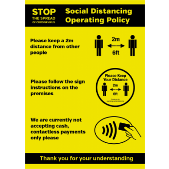 A4 Social Distancing Operation Shop / business entry Policy notice Water proof