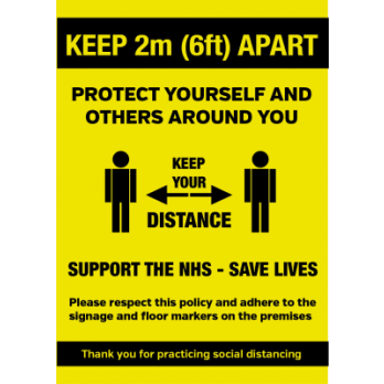 A5 Keep 2metre (6ft) apart when entering social distance notice Waterptoof Poster