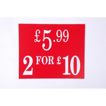 Price Card £5.99/2 for £10