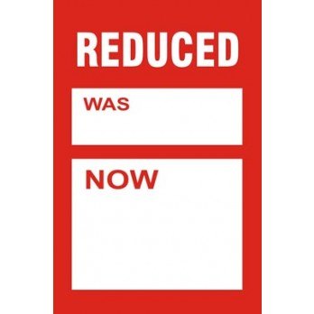 Reduced Was/Now Tickets 255 x 320mm (Pack of 10)