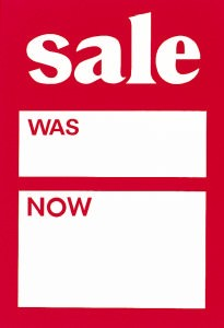 Sale Was/Now Tickets 100 x 150mm (Pack of 25)