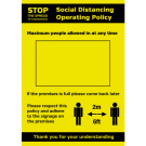A4 Social Distancing Operation Policy maximum people allowed in at any time notice Waterproof