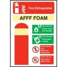 Fire Extinguisher Safety AFFF Foam Sign S/A 140 x 200mm